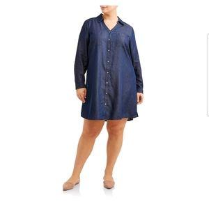 Plus Size Button Down Shirt Dress 2X